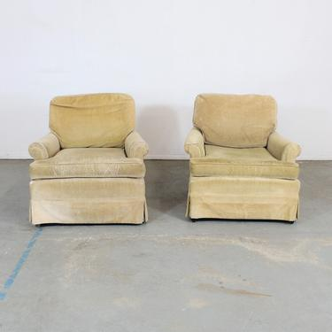 Pair of Mid-Century Modern Club Chairs on Walnut Colored Legs by AnnexMarketplace
