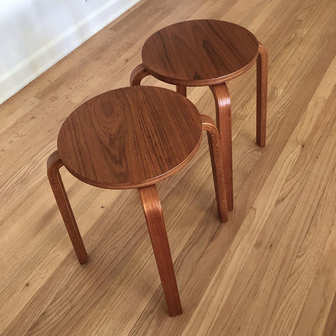 HA-18159 Pair of Danish Wooden Stools