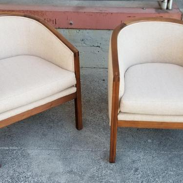 Pair Mid-Century Barrel Back Lounge Chairs by JanakosAndCompany