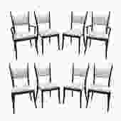 Harvey Probber Set of 8 Sculptural Dining Chairs in Mahogany 1950s
