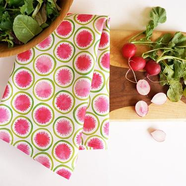 Watermelon Radish tea towel • watercolor radishes in pink and green by TheAhlgrenCollage