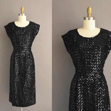 1950s vintage dress   Petite Lady Sparkly Black Full Sequin Cocktail Party Wiggle Dress   XS Small   50s dress by simplicityisbliss