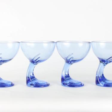 Vintage Bormioli Rocco Jerba Dessert Bowls Blue Sapphire Glassware, Curved Stem, Blue Glassware, Bormioli Rocco,Dessert Cups, Set of 4 by 1882BlueVintage
