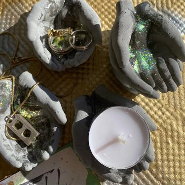 Holographic Glitter Gilded Charcoal Concrete Hands Catchall Card Holder Jewelry Ring Holder Tealight Holder by MadeByRheal