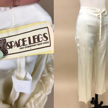 "Vintage Late 1970s Space Legs Satin Pants, 70s Vintage Pants, Vintage Disco Pants, Loungewear, Size Small, 27"" Waist by MobyDickVintage"