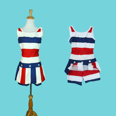 Vintage 1960s Romper Summer Dress Playsuit Red White Blue Stripe Cotton American Pride Outfit Size S XS by WalkinVintage