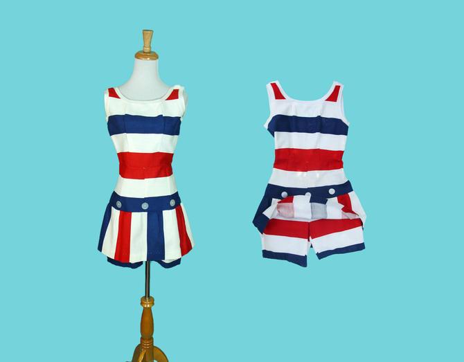 8f181e5529c5 Vintage 1960s Romper Summer Dress Playsuit Red White Blue Stripe ...