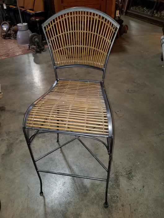 Bamboo and Steel Bar Stool 28.75 x 17 seat to floor, 43 to back