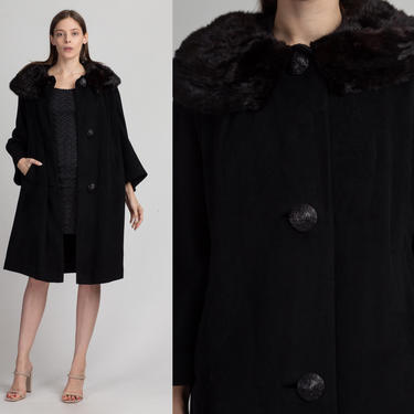 50s 60s Black Wool Fur Collar Swing Coat - Extra Large | Vintage Button Up Glam Winter Jacket by FlyingAppleVintage