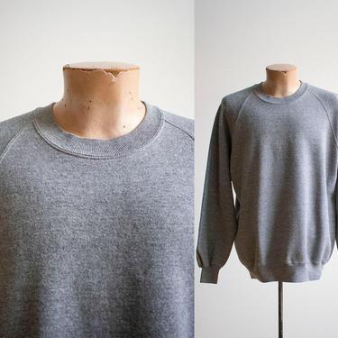 Vintage 1980s Pullover Raglan Sweatshirt / Vintage Blank Sweatshirt / Heather Gray Pullover Sweatshirt / Gray Crewneck / Vintage Crewneck XL by milkandice