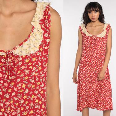 Calico Floral Dress Red Summer Dress 90s Sundress Sleeveless Rayon Floral Print Midi Dress Shift Boho 1990s Bohemian Vintage Sun Large L by ShopExile