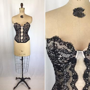 Vintage 50s Merry Widow | Vintage black lace bustier | 1950s Hollywood Vassarette corset by BeeandMason