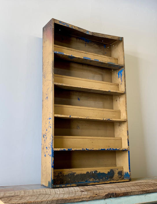 Antique Metal Shelf | Metal Mechanic Shelf | Auto Parts Shelf | Metal Cubby | Card Display | Metal Curio | Rustic Metal Shelf | Wall Hung by PiccadillyPrairie