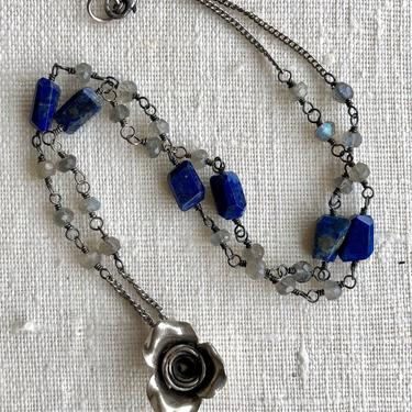 Winter Roses [lapis, labradorite, sterling silver, Hill Tribe silver] by nonasuch
