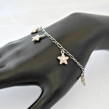 60's sterling star on starfish charm bracelet, whimsical 925 silver textured sea star dangles on modified figaro chain beach boho bracelet by BetseysBeauties