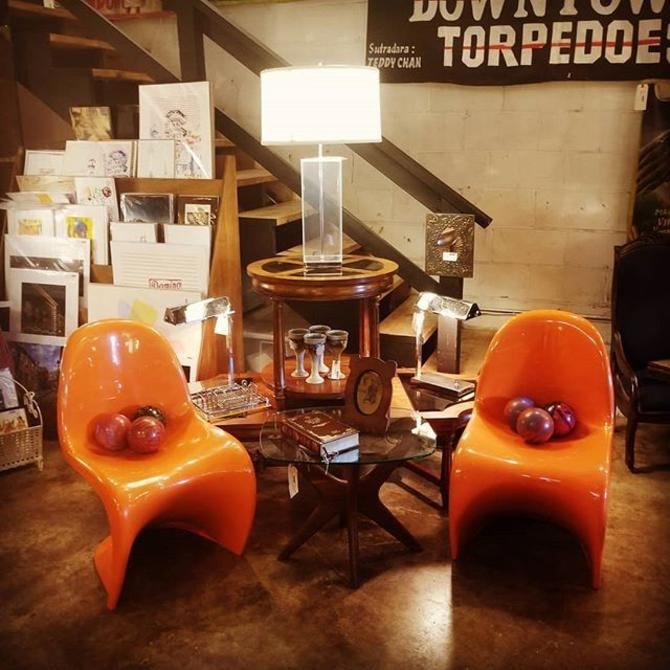Pair of Verner Panton Chairs, 1974, Orange