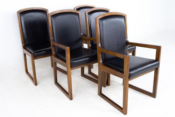 Thomasville Mid Century Walnut and Black Naugahyde Sleigh Leg Dining Chairs - Set of 6 by ModernHill