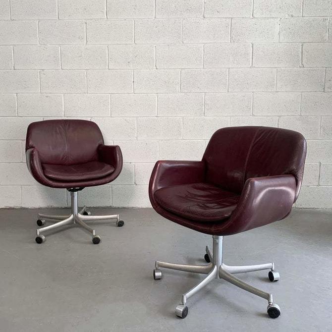 Pair of Mid Century Modern Leather Office Swivel Armchairs