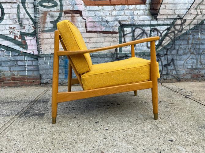 Vintage mid century modern swedish Danish modern lounge chair blonde wood gold cushions folke ohlsson by symmetrymodern