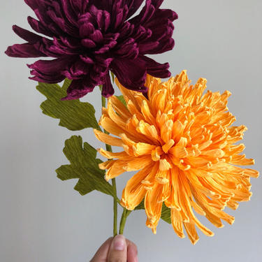 Crepe Paper Chrysanthemum -- Paper Flowers for Home Decor and Weddings -- Florist Supply -- Wholesale by ReveryPaperFlora