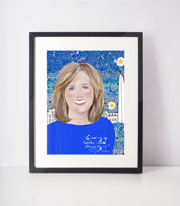 Dr. Jill Biden Portrait | Inspirational women | Cubicle decor by VioletredStudio