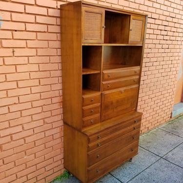 SOLD. Baumritter Cabinet: drop-front desk, 3 drawers, bookcase. 40