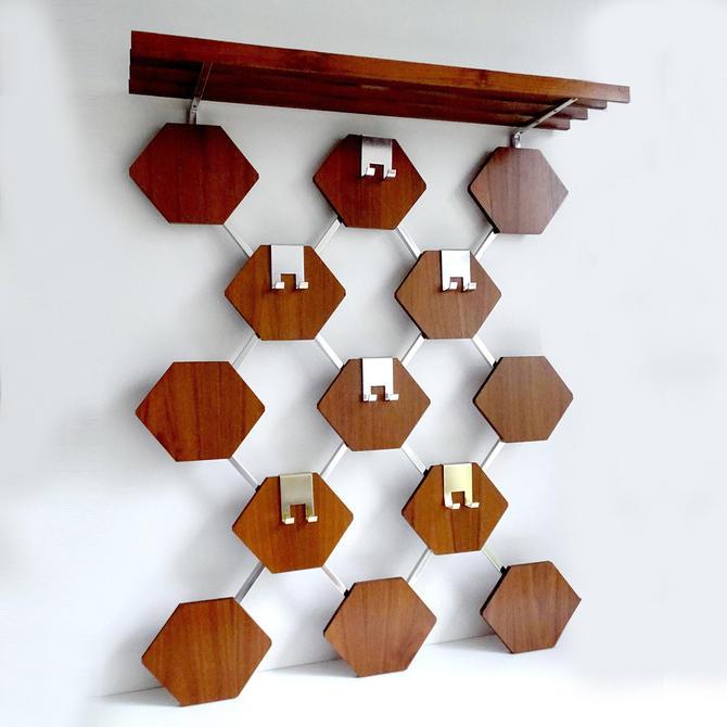 Vintage Danish Mid Century Hexagons Teak Wood Coat/Hat Hanger & Shelf by MCMSanFrancisco
