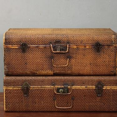 Pair of Asian Woven Rattan Suitcases