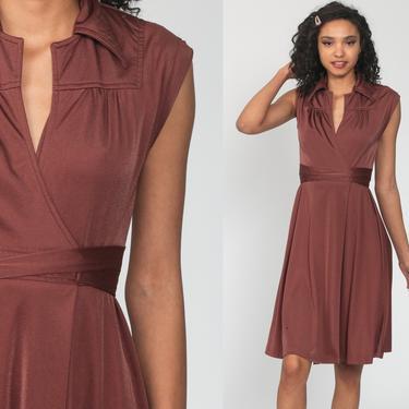 Brown Wrap Dress Disco Party Grecian 70s Boho Midi Deep V Neck  High Waist Vintage Cap Sleeve Bohemian Drape Small by ShopExile