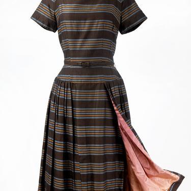 Vintage 1950s Natlynn Junior Original Striped Cocktail Dress with Overskirt