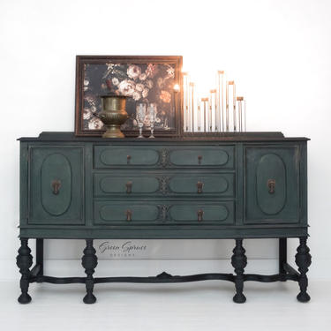 Antique Buffet, Green and Black Sideboard, Dining Room Server by GreenSpruceDesigns