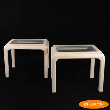 Pair of Blonde Pencil Reed Side Tables