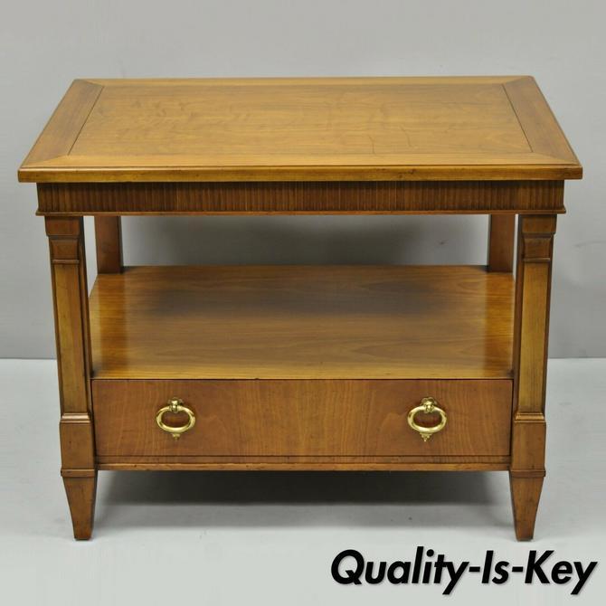 Vintage Baker French Regency Style One Drawer Walnut Lamp End Side Table