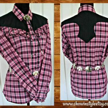 H Bar C Vintage Western Women's Cowgirl Shirt, Rodeo Blouse, Pink & Black Plaid with Ruffles, Tag Size 40, Approx. Large (see meas. photo) by ShowinStyle