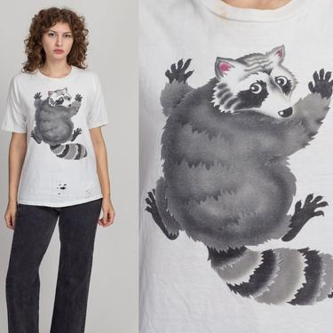 80s Scared Raccoon T Shirt - Men's Medium, Women's Large | Vintage Distressed White Unisex Funny Graphic Tee by FlyingAppleVintage