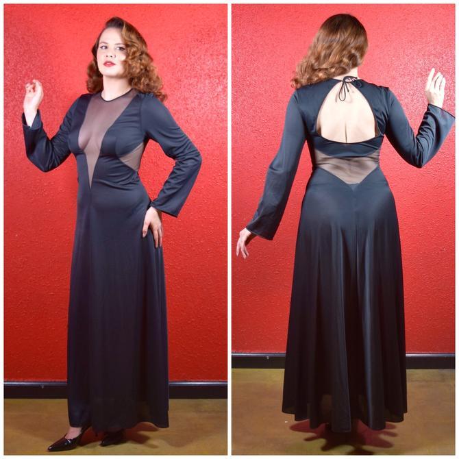 1970s Black Plunging Neckline Lounge Gown by THEGIRLCANTHELPITUSA