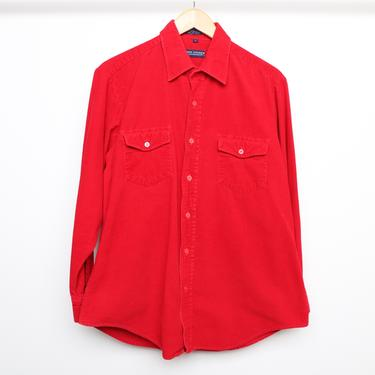 vintage men's CORDUROY faded red long sleeve henley 1990s y2k vintage size large corduroy shirt by CairoVintage