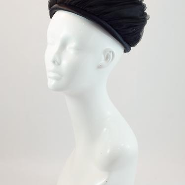 SALE PRICE 1960s Vintage Hat - Black Tulle Swirled Hat Studded with Multifaceted Beads Set on a Black Satin Band by DomesticatedPinup