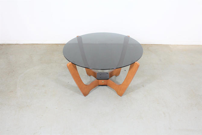 Mid Century Danish Modern Odd Knutsen Glass Top Coffee Table by AnnexMarketplace