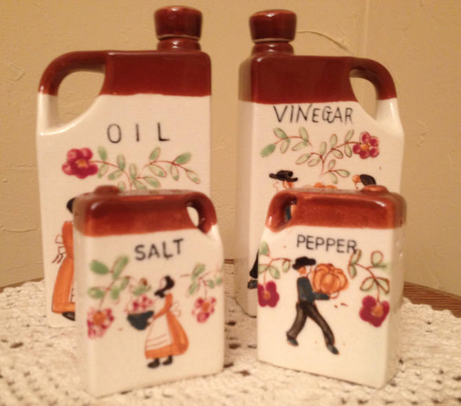 Adorable Vintage 4 Piece Hand Painted Ceramic Oil & Vinegar Bottles/Salt and Pepper Shaker Set by JoAnntiques