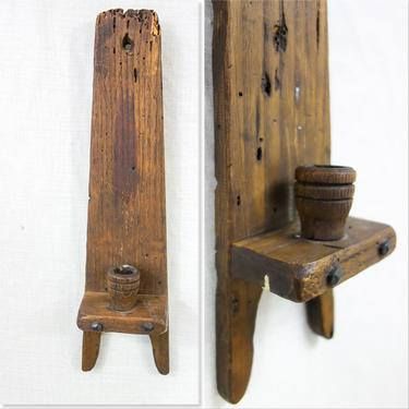 """Set of 2 rustic raw wood wall sconce candleholders 18x5"""" reclaimed primitive folk art wall mounted taper candle holder for cabin or man cave by forestfathers"""