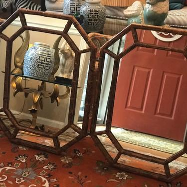 Tortoise shell finish vintage faux bamboo octagonal mirrors - a pair by HolbrookBazaar