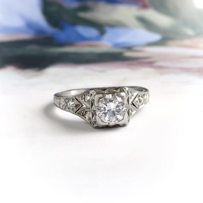 Art Deco .53ctw Old European Cut Diamond Waves and Heart Engagement Ring Platinum by YourJewelryFinder