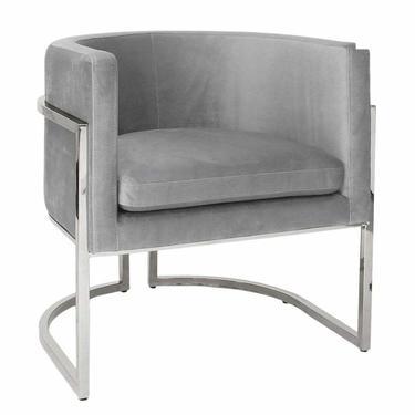 Worlds Away Modern Gray Velvet and Polished Nickel Barrel Back Jenna Lounge Chair