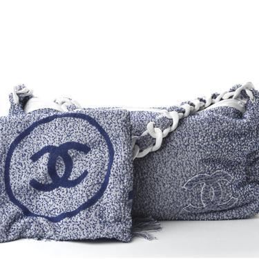 Vintage 90's CHANEL CC Logo Monogram Pile Terry / Leather Tote Purse Beach Shoulder Bag and Towel!  2 piece set! by MoonStoneVintageLA