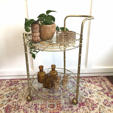 Vintage Bar Cart, Tiki Bamboo, Tiki 50s - 60s Mid Century Printed Glass  Two Tier Round Cart Serving Caddy, trolley Gold Brass Glass by VintageCoreReStore