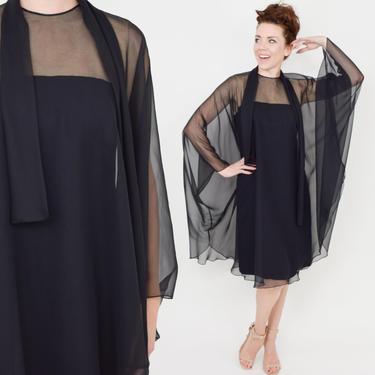 Reserved for Ishwari |1960s Black Party Dress | 60s Black Silk Chiffon Trapeze Dress | Black Illusion Cocktail Dress | Luis Estevez | Medium by GlennasVintageShop