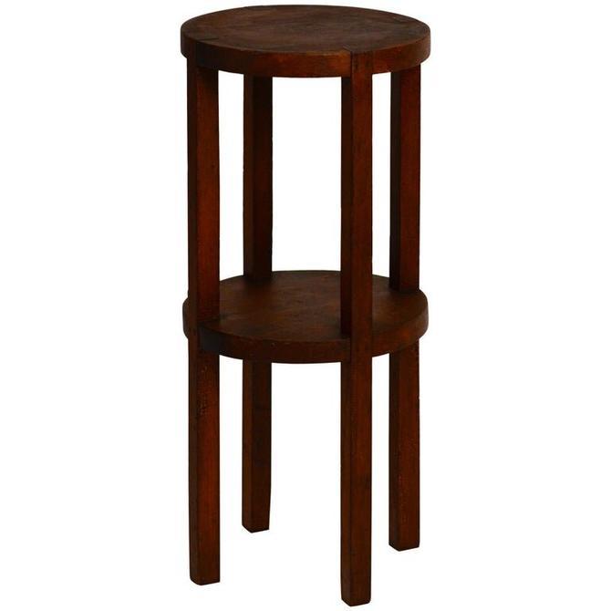 Slender American Arts & Crafts Oak Sellette Side Table