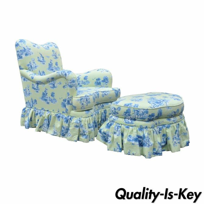 Drexel Heritage Vera Bradley Rolled Arm French Country Club Chair & Ottoman