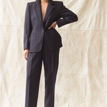 1980s Guy LaRoche Pinstripe Suit by waywardcollection